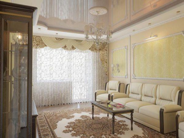 Классический интерьер гостиной в маленькой гостиной