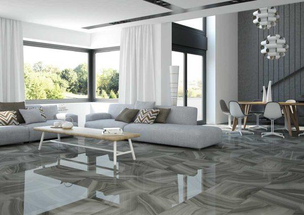 Пол из керамогранита в гостиной в стиле минимализм