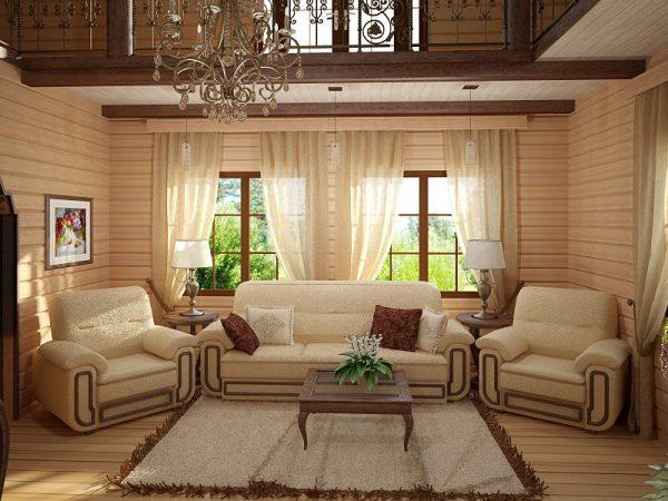 Роскошный дизайн в деревянном доме