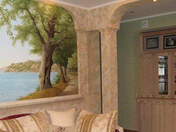 Роспись на стенах в гостиной