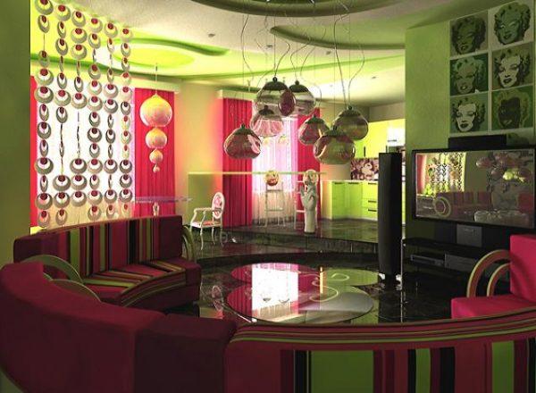 Зеленый цвет в интерьере гостиной в стиле поп-арт