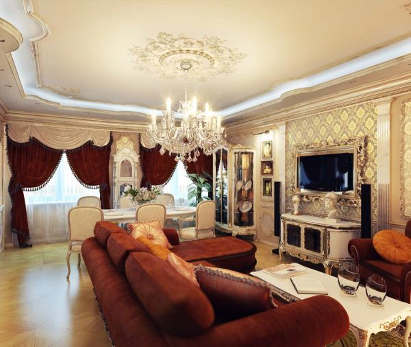 Коричневый дизайн интерьера гостиной