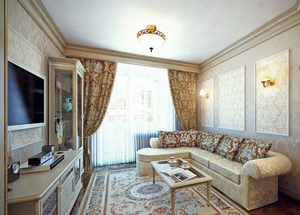 Маленькая гостиная в классическом стиле с угловым диваном