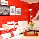 Красный цвет в гостиной