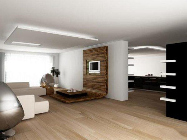 Интересное оформление стены деревянными панелями
