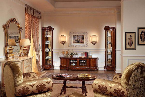 Угловые шкаф-витрины в интерьере гостиной