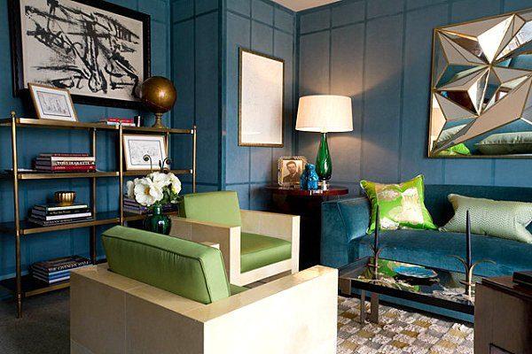 Сине-зеленый интерьер гостиной