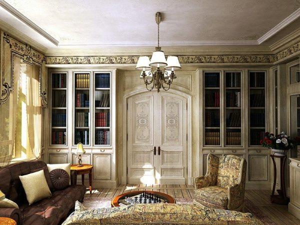 Дверь, украшенная росписью в гостиной