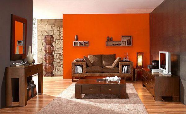 Оранжевый цвет интерьере.