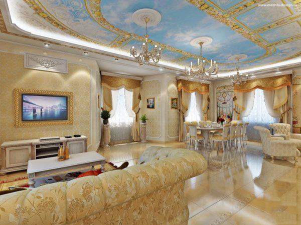 Фрески на потолке в гостиной во дворцовом стиле