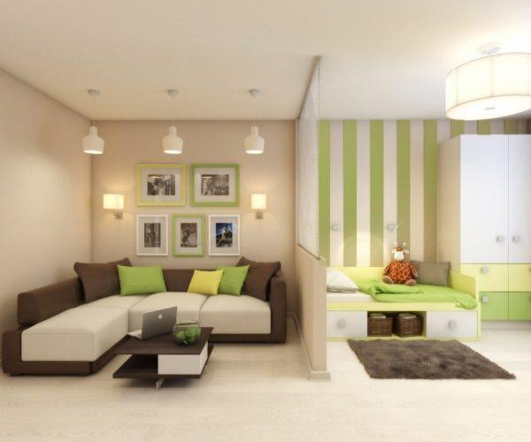 Совмещение гостиной и детской комнаты