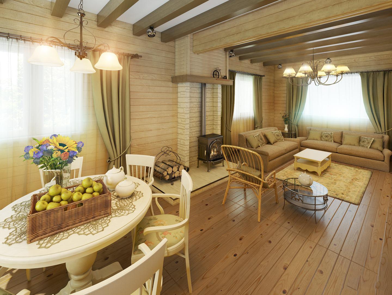 Дизайн деревянной гостиной