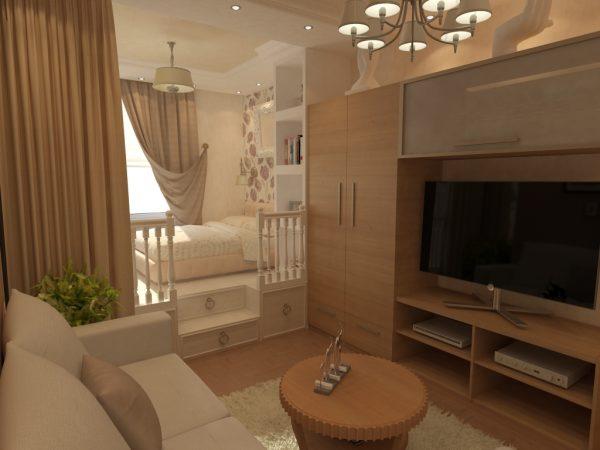 Детская и гостиная в одной комнате в разных стилях