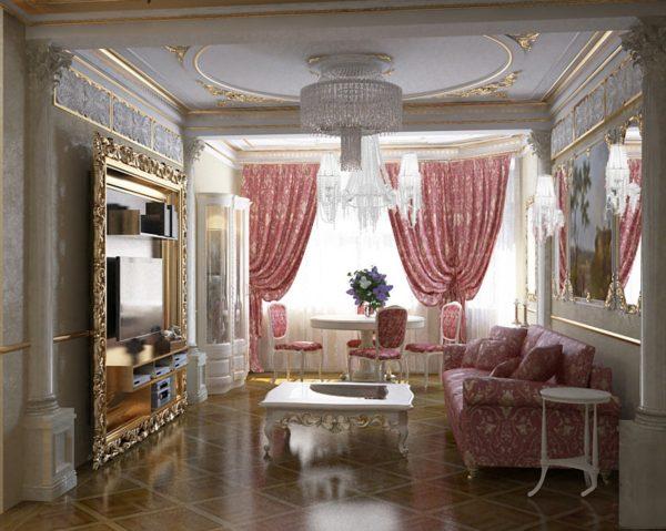 """Отделка """"золотом"""" в гостиной в классическом стиле"""
