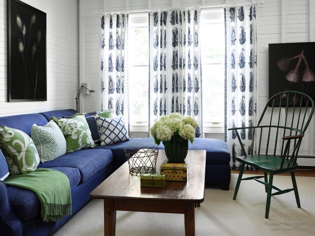 Сочетание синего и зеленого в интерьере фото
