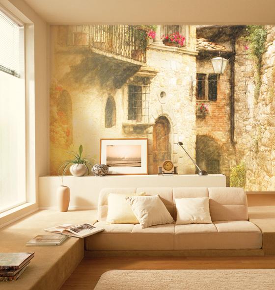Городской пейзаж - фрески в интерьере гостиной