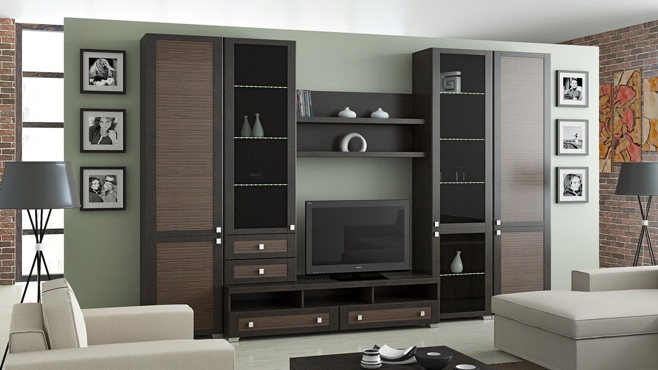 Современные стенки горки в гостиную - фото разных моделей.