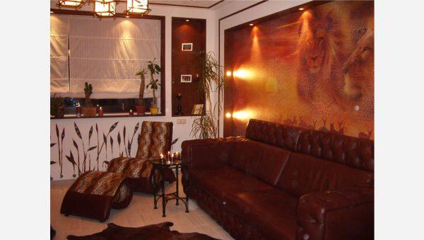 Фреска в интерьере в эко стиле