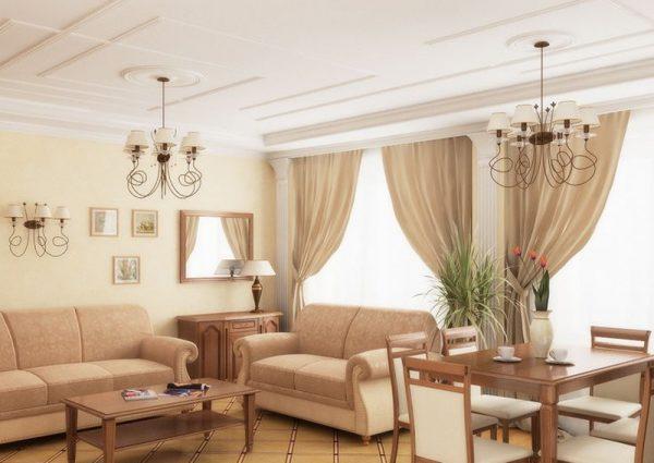 Классический интерьер гостиной в пастельных тонах