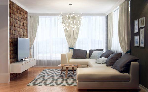 Оформление стен деревянными панелями в гостиной