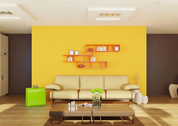 Коричнево-желтый интерьер
