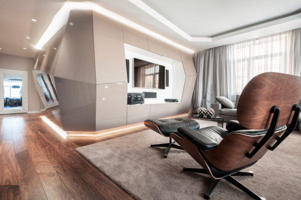 Стиль хай тек в оформлении гостиной
