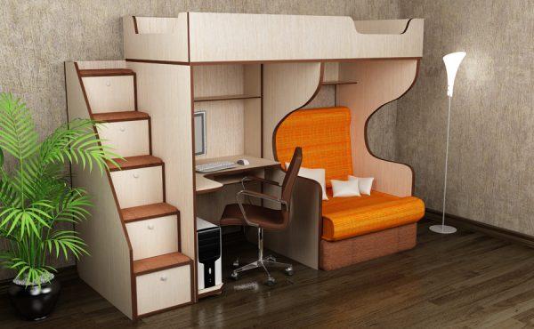 Кровать чердак с рабочей зоной и раскладным креслом.