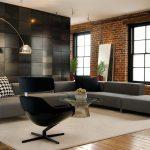 Современный стиль хай-тек в интерьере гостиной.