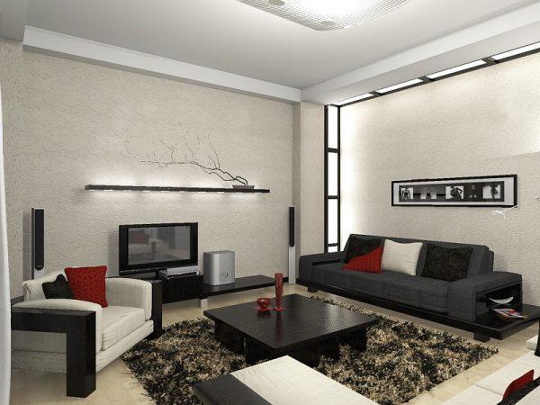 Небольшая гостиная в квартире в стиле минимализм