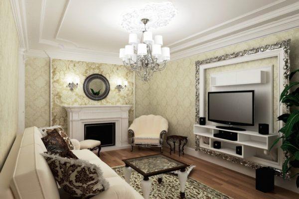 Бежевые обои в гостиной в классическом стиле