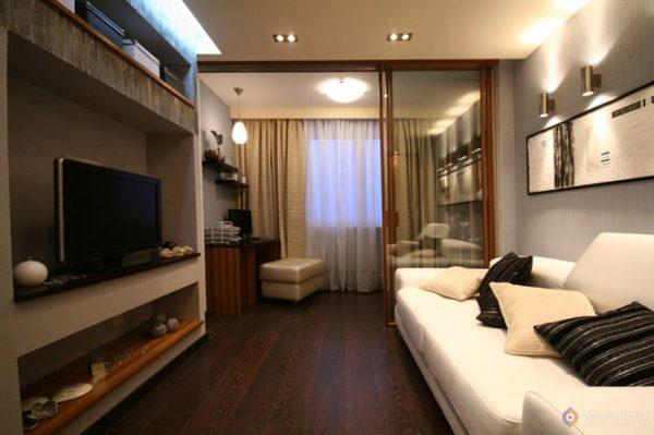 Дизайн комнаты спальни-гостиной