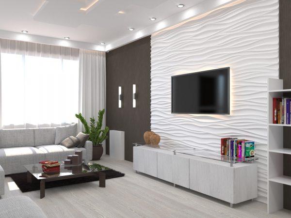 Светлая гостиная в стиле модерн