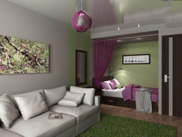 Стильный интерьер гостиной с нишей для кровати