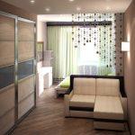 Дизайн комнаты 18 кв.м на две зоны спальня и детская.