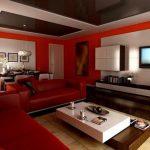 Сочетание красного, белого и коричневого цвета в интерьере гостиной