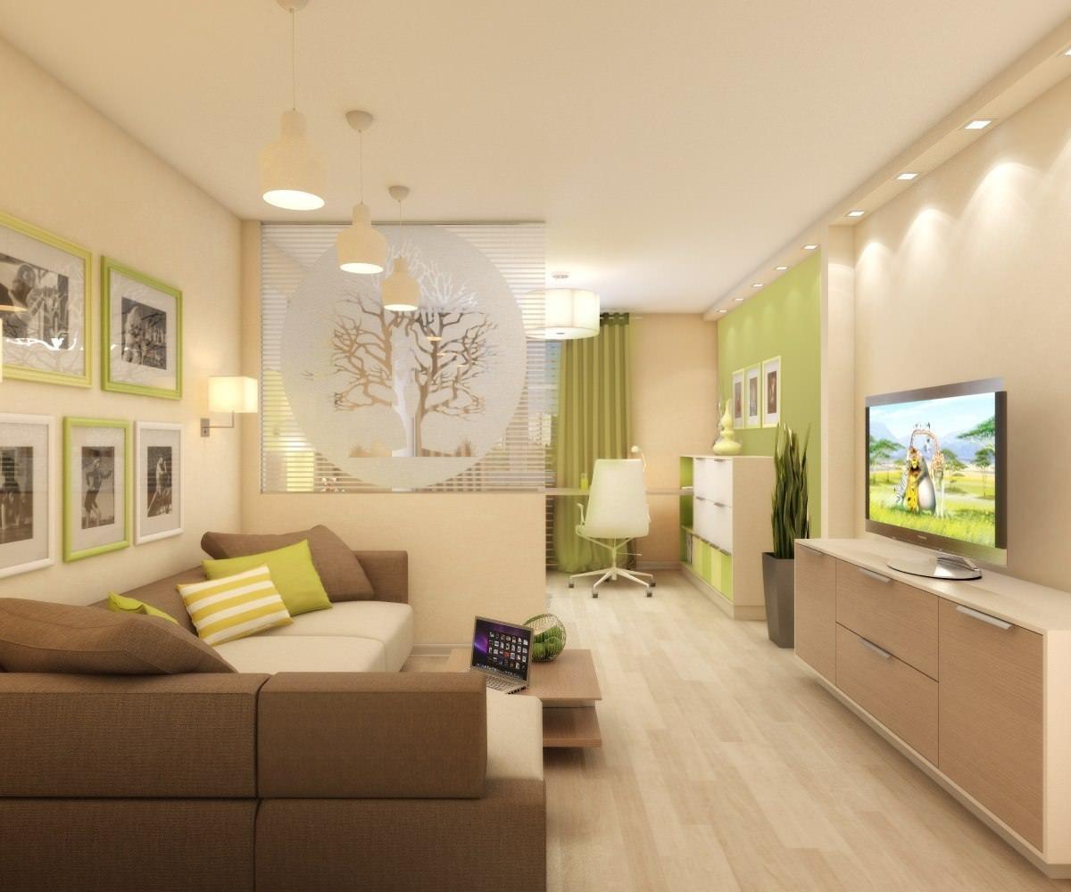 Дизайн комнаты гостиной-детской