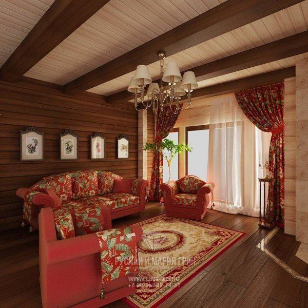 Красный цвет в интерьере деревянного дома