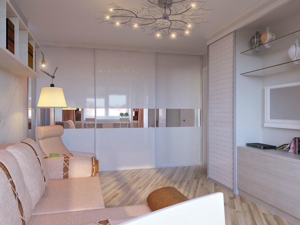 Светлая гостиная со шкафом купе