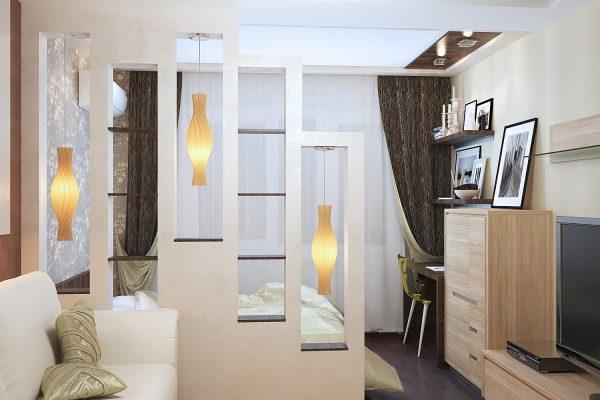 Интерьер гостиной,совмещенной с детской 18 кв. м.