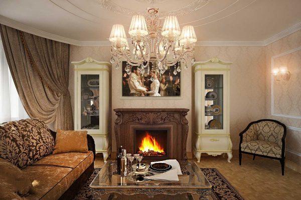 Гостиная в классическом стиле с фальш камином