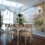 Дизайн гостиной с фресками на стене в классическом стиле