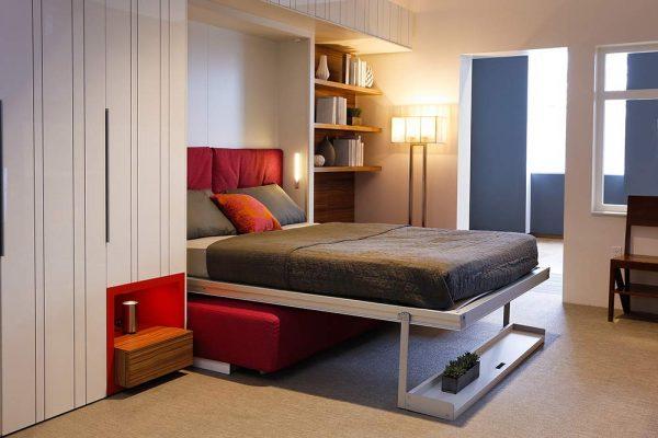 Мебель трансформер в гостиной в стиле минимализм