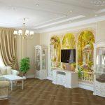Дизайн гостиной с фресками на стенах