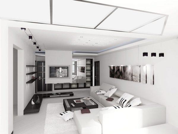 Декор стен в гостиной в стиле минимализм