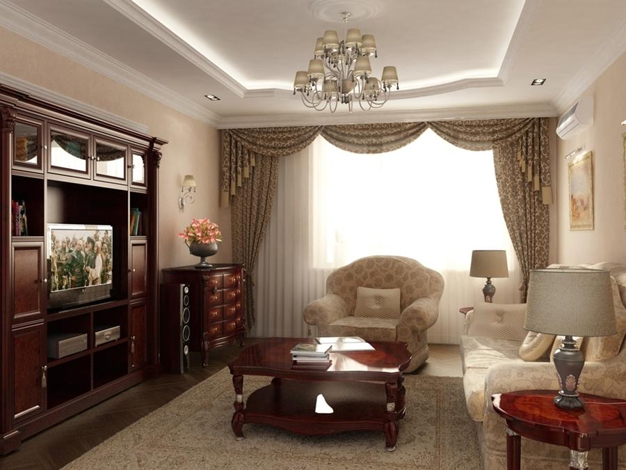 Интерьер гостиной в классическом стиле в квартире фото