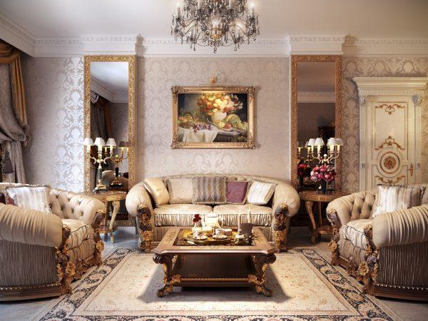 Дизайн гостиной в классическом стиле в пастельных тонах