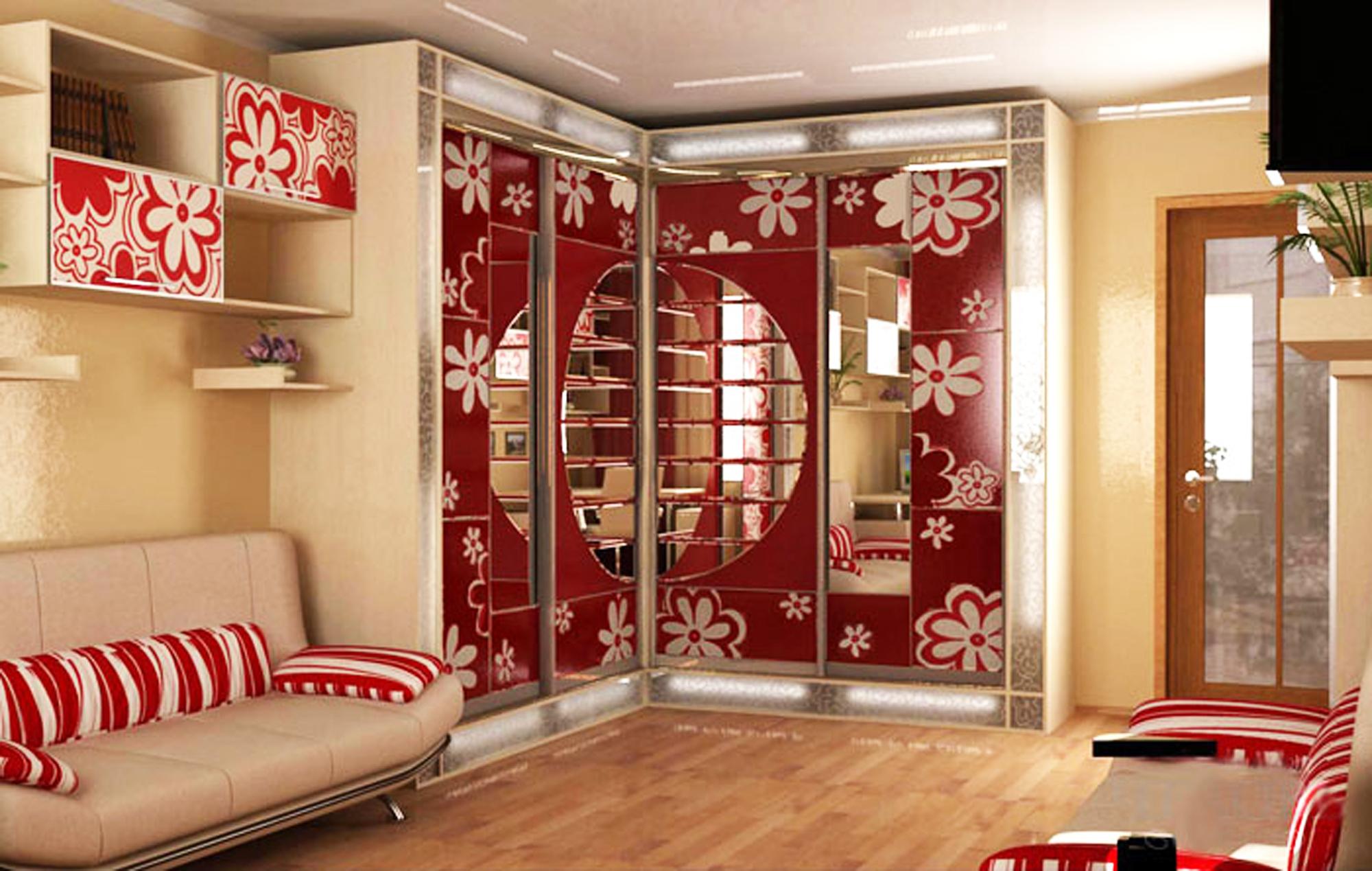 Интерьер комнат с шкафом купе