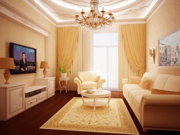Светлая гостиная в классическом стиле.