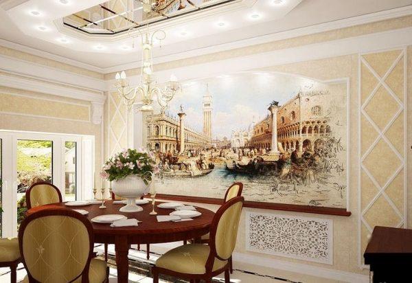 Интерьер с фресками в стиле романтизм