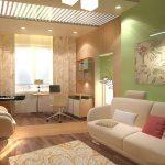 Дизайн прямоугольной гостиной в светлых тонах.